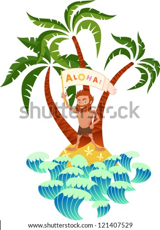 Man and the desert island with palm trees.Illustration on white background.