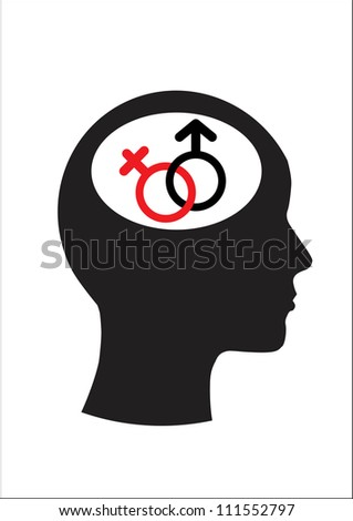 Man and thinking, Male symbol. Female symbol vector - stock vector