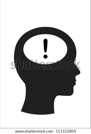 Man and thinking, Symbol exclamation