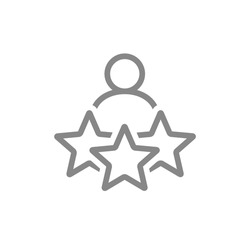 Man and three stars, rating line icon. User reviews, feedback, quality control symbol