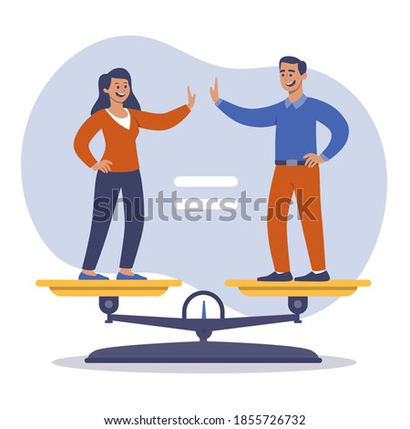 Man and woman accepting the idea of gender equality Vector illustration Foto stock ©