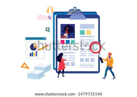 Man and woman are looking for the right candidate to hire. Employing somebody. Hiring concept. Isometric illustration.