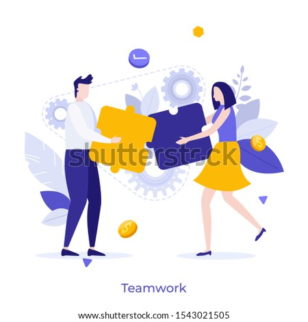 Man and woman assembling jigsaw puzzle together. Concept of teamwork, cooperation for startup project, business interaction, colleagues cooperating at work. Modern flat colorful vector illustration.