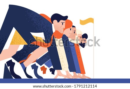 Man and woman at business race vector flat illustration. Office workers or clerks standing at starting position ready to sprint run isolated. Rivalry between colleagues. Professional competition Сток-фото ©