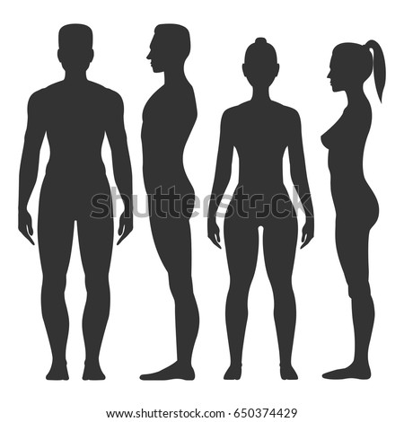 Man and woman black silhouette, front and side view, darkcoloured pattern design and ornament. Vector flat style illustration isolated on white background