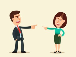 Man and woman blame each other, search for scapegoat.  Blame concept. Who's guilty? Workers point finger at each other. Business vector illustration, flat design, cartoon style. Isolated background.