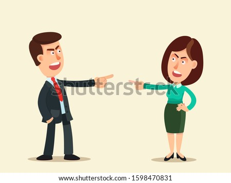 Man and woman blame each other, search for scapegoat.  Blame concept. Who's guilty? Workers point finger at each other. Business vector illustration, flat design, cartoon style. Isolated background. Stockfoto ©