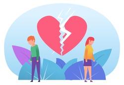 Man and woman break up, divorce. Sad couple standing near big broken heart. Poster for web design, social media, banner, presentation. Flat design vector illustration