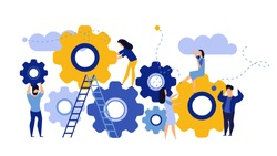 Man and woman business organization with circle gear vector concept illustration mechanism teamwork. Skill job cooperation coworker person. Group company process development structure workforce banner
