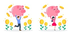 Man and woman carry pink piggy bank with floating coins and money tree. Creative financial concept of savings, wealth, rich, and investment. Simple trendy cute cartoon vector illustration. Flat style.