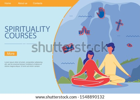 Man and Woman Cartoon Characters Sitting and Relaxing in Lotus Yoga Meditation Pose. Spiritual Philosophy practice, Spirituality Courses. Mindfulness and Wellbeing Training. Flat vector illustration.