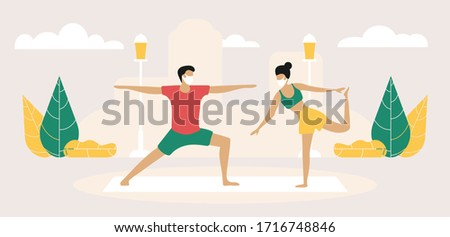Man and Woman Characters in Medical Masks doing sport on Nature Landscape during Covid 19 Pandemic. Outdoor Sport Activity. Jogging and Sport Healthy Lifestyle. Cartoon Vector People Illustration