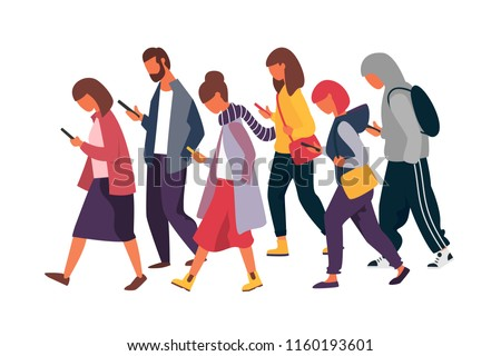 Man and woman characters using mobile phones. Crowd of people holding smartphones. Vector illustration.