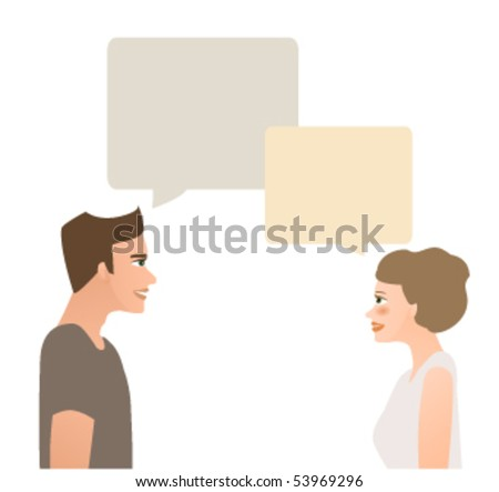 Man and woman chatting face to face isolated on white.Conversation.
