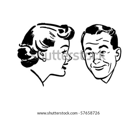 Man And Woman Chatting - Retro Clip Art