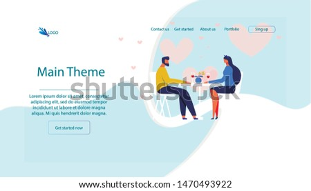 Man and Woman Couple Having Romantic Dinner in Restaurant Cartoon Flat Banner Vector Illustration. Eating out on Date. Girl and Boy Drinking Wine Glass. Web Design for Restaurant or Cafe.