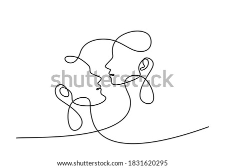 Man and woman couple in love. Continuous one single line a couple falling in love and shows their emotions. Showing love with a kiss. Valentine style minimalism design. Vector illustration