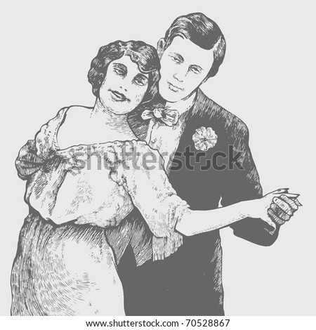Man and  woman dance a tango. vector illustration. retro style.