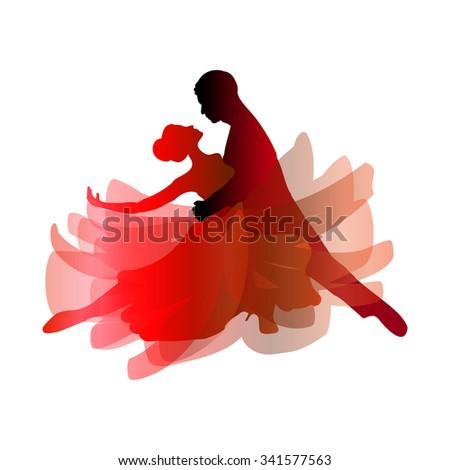 Man and woman dancing tango. Vector illustration
