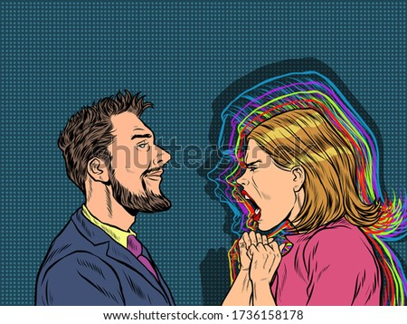 man and woman dispute emotions scream. Pop art retro vector illustration vintage kitsch 50s 60s style Stock photo ©