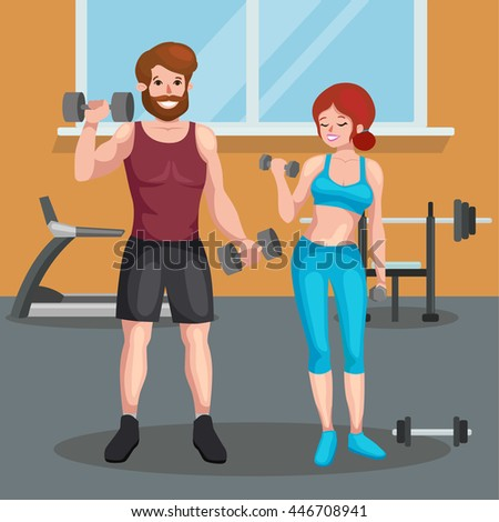 man and woman doing fitness