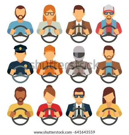Man and woman drivers vector flat icons
