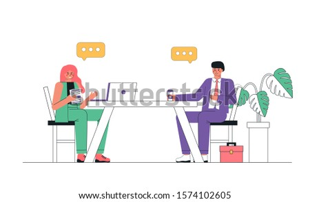 Man and woman during job interview, job search. Job Seeker and hr manager sitting at office table in room. Employees discuss the vacant place in the enterprise, study the resume of the employee.