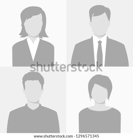 "Man and woman empty avatars set (casual and business style). Vector photo placeholder for social networks, resumes, forums and dating sites. Male and female ""no photo"" images for unfilled user profile"