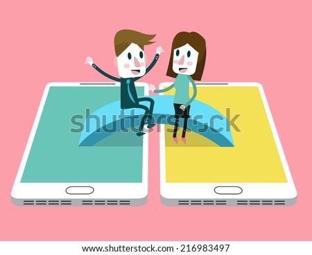 Man and woman enjoy talking on the bridge across between smart phone. social media community concept. vector illustration