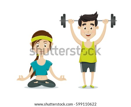 Man and woman exercising. Man with barbell. Woman practicing yoga. Fitness couple in the gym vector illustration.
