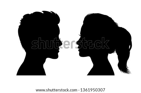 Man and woman face silhouette. Face to face icon – stock vector