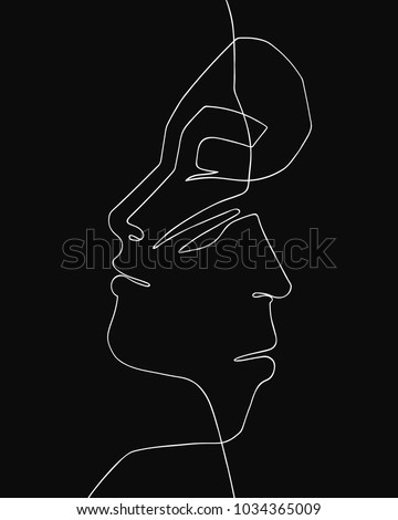 Man and woman face silhouettes united over black backgound. Vector illustration