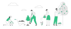 Man and Woman Farmers or Gardeners Planting and Caring of Tree Sprout and Pick Apple Harvest. Happy Couple Characters Harvesting Ripe Fruits in Summer Garden. Flat Vector Illustration, Line Art