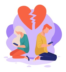 Man and woman fell out of love not talking. Boyfriend and girlfriend in quarrel using smartphones. Broken heart pieces, separation of partners or rejection. Depressed youth, vector in flat style