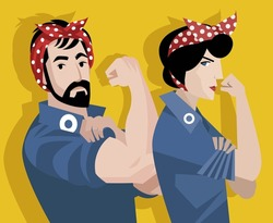 man and woman feminist workers activists