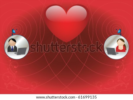 Man and woman finding love via the internet