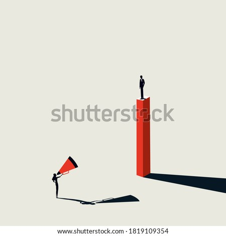 Man and woman, gender discrimination in business vector concept. Gender inequality, woman shouting at man. Eps10 illustration.
