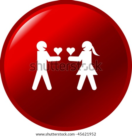 man and woman giving their hearts in love button