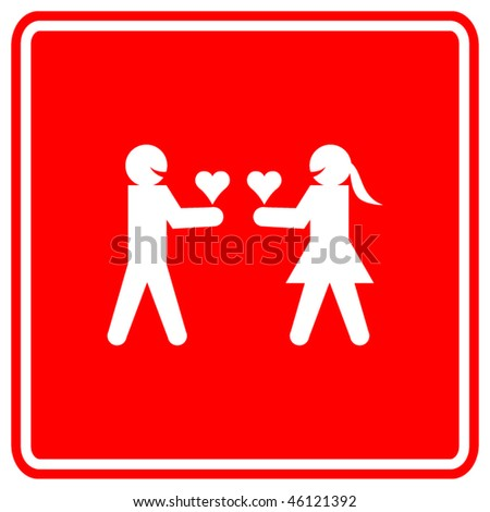 man and woman giving their hearts in love symbol