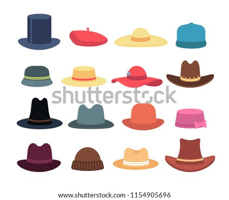 Man and woman hats. Cartoon hat and cap headdress vector isolated collection. Cap and hat, fashion headwear for gentleman or woman illustration