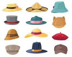 Man and woman hats. Fashion headwear for ladies and gentlemen, vintage and classic headdress beret, cap, beach panama trendy hat vector set