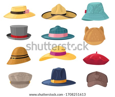 Man and woman hats. Fashion headwear for ladies and gentlemen, vintage and classic headdress beret, cap, beach panama trendy hat vector set Zdjęcia stock ©