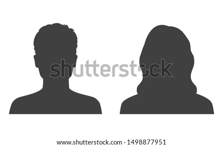 Man and woman head icon silhouette. Male and female avatar profile, face silhouette sign – stock vector