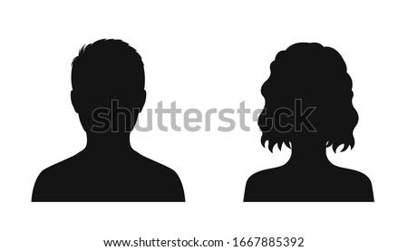 Man and woman head icon silhouette. Male and female avatar profile sign, face silhouette logo – vector