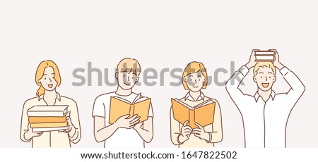 Man and woman hold a book in their hands. Human character on white background. Hand drawn style vector design illustrations.