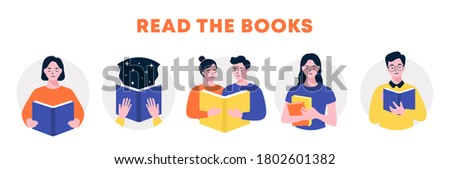 Man and woman hold a book in their hands, Reading people set, World Book Day, Book festival, Portraits of various readers characters, Read more books, Horizontal banner, flat vector illustration.