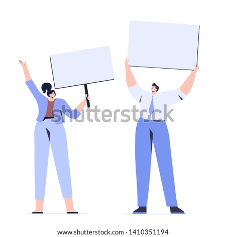 Man and woman holding banners and placards. Protesters or activists.  Flat vector characters