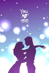 Man and woman hugging. Couple in love spending time together in front of a bokeh background. Vector illustration.