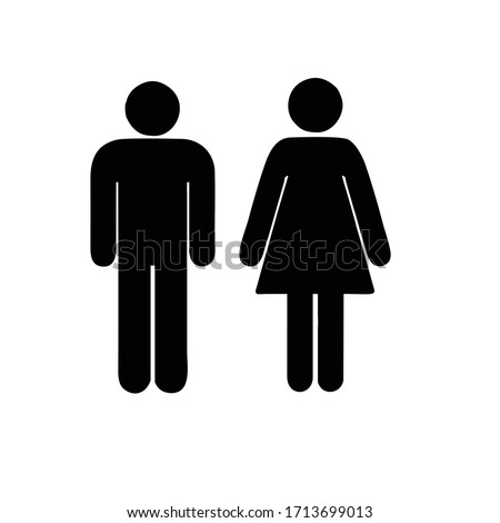 man and woman icon. boy and girl icon or badge Foto stock ©