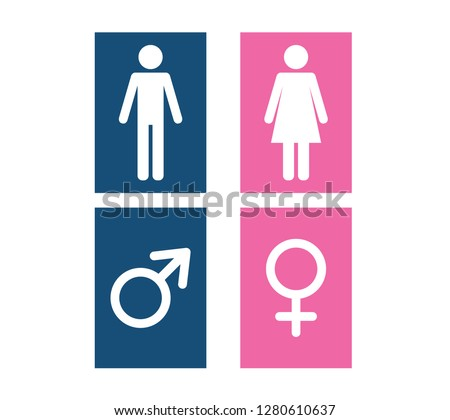 Man and Woman icon flat vector illustration sign WC.
